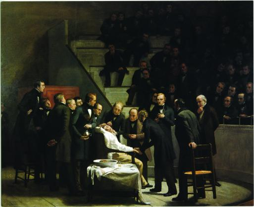 Robert Cutler Hinckley's classic painting The First Operation with Ether depicts anesthesia being used on a patient in 1846.