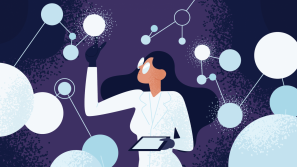 an illustration of a woman doing research