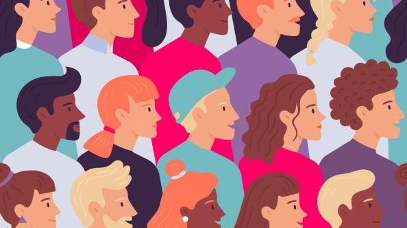 a vector image of a diverse group of people